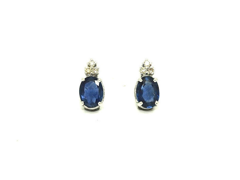 Blue Sapphire And 6 Diamond Earring Ad No .0878 (6/8mm)