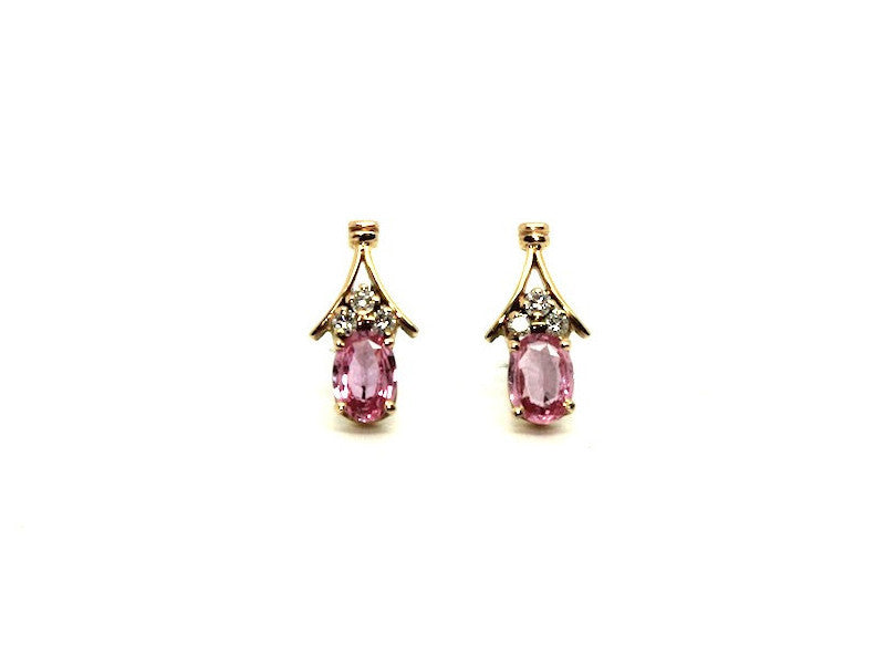 Pink Sapphire And Diamond Rope Stud Ad No.0183 (5/7mm)