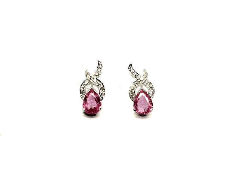 Pink Sapphire And Diamond X Earring Ad No.0186 (6/8mm)