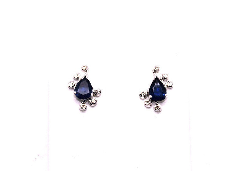Blue Sapphire And Bezel Diamond Drop Earring Ad No.029 (6/8mm)