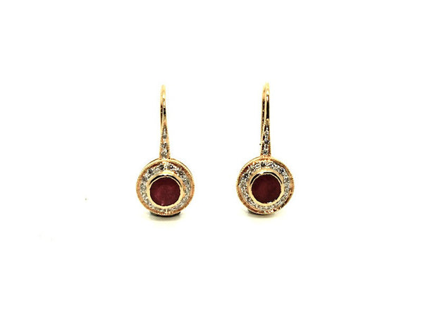 Ruby & Diamond Art Deco Earrings Ad No.0191 (5mm)