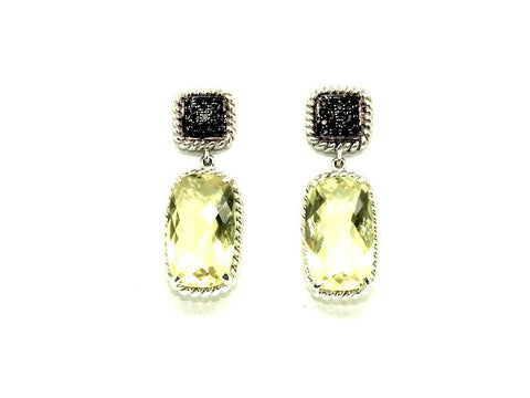 Lemon Topaz And Black Diamond Earring