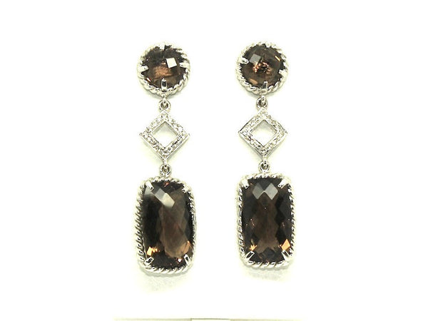 Smoky Topaz And White Sapphire Earring