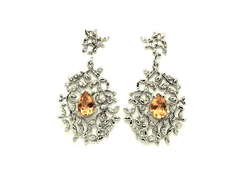 Citrine And White Sapphire Artistic Earring