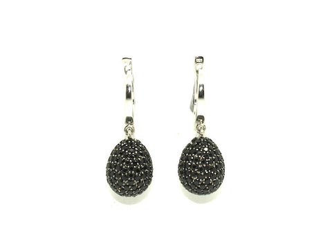 Black Spinel Studded Drop Earrings
