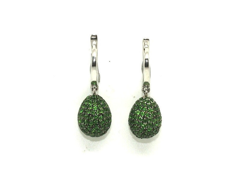 Chrome Diopside Studded Drop Earrings