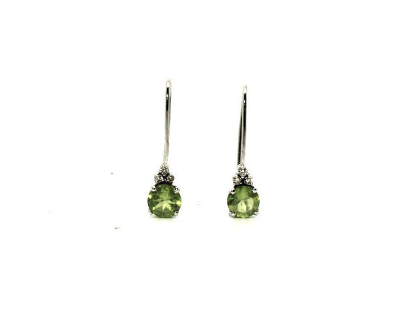 Peridot And Diamond Euro Wire Earring