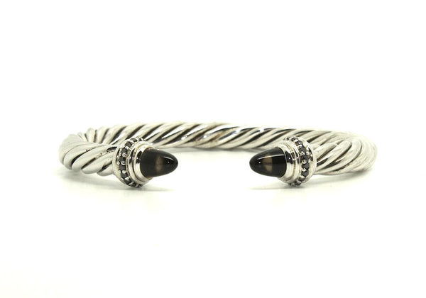 Twisted Rope Wire Bangle-smoky Topaz & Black Diamond(8mm)