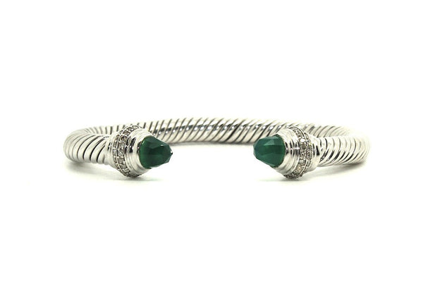 Twisted Rope Wire Bangle-Green Onyx & Diamond(7mm)