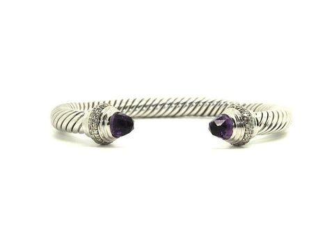 Twisted Rope Wire Bangle-Amethyst & Diamond(7mm)