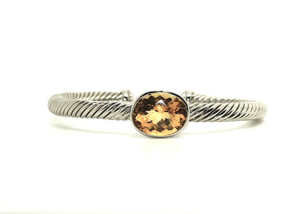 Twisted Rope Wire Bangle-oval Citrine(5mm)