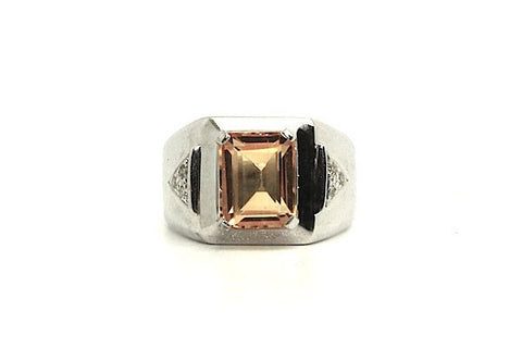Citrine And Diamond Emerald-cut Ring