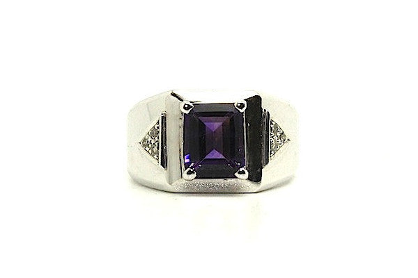 Amethyst And Diamond Emerald-cut Ring