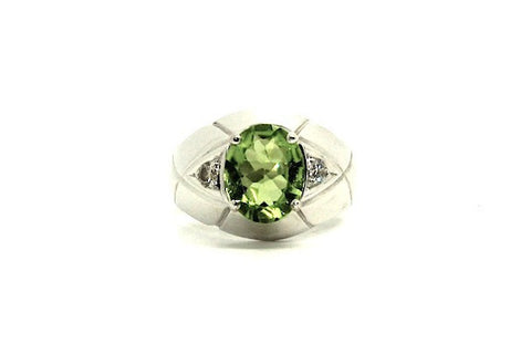 Peridot And Diamond Oval-cut Ring