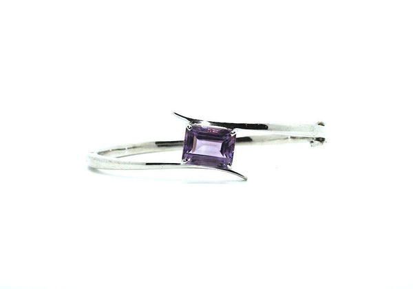 Amethyst Cross Silver Bangle