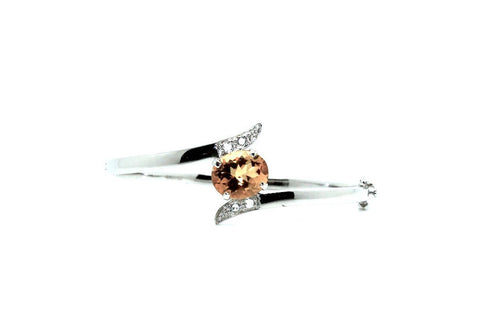 Citrine And White Sapphire Cross Silver Bangle