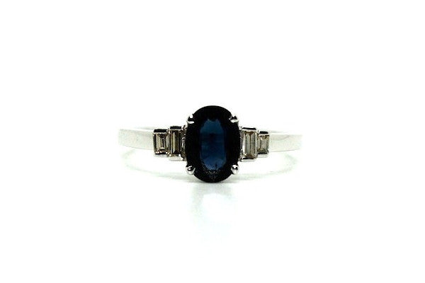 Blue Sapphire And Baquette Diamond Ring Ad No.1066