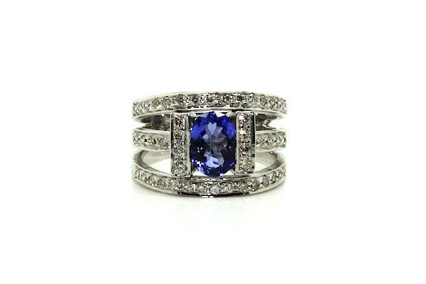 Channel Tanzanite And Pave Diamond Ring / Item Code: RNG 21