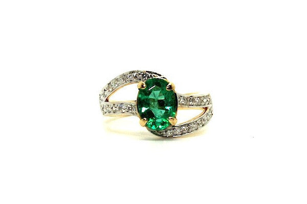 Emerald And Diamond Twisted Band Ad No.076