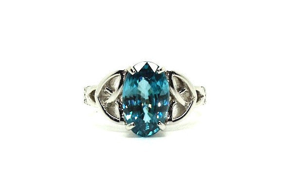 Blue Zircon & Diamond Celtic Ring Ad No.0826