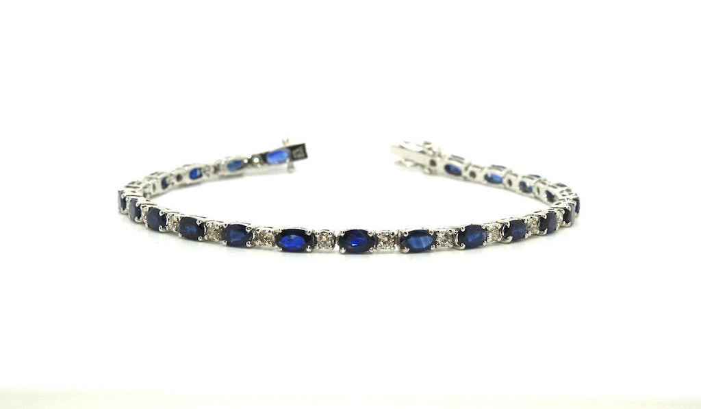 Blue Sapphire And Diamond Tennis Bracelet Ad No.0782