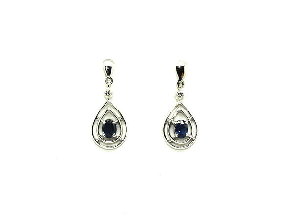 Blue Sapphire And Diamond Double Wire Dangling Earring Ad No.0892