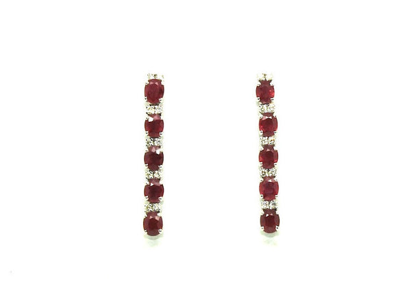 Ruby & Diamond 5-stone Earring Ad No.0209