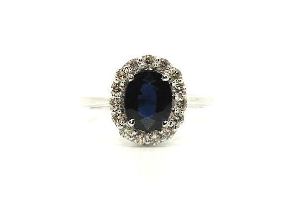 Blue Sapphire & Diamond Halo Ring Ad No. 1067