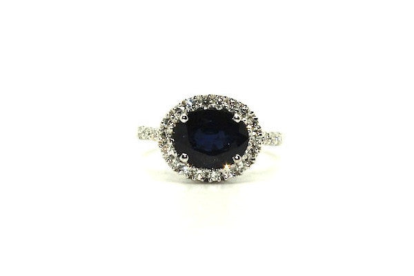 Blue Sapphire And Diamond Halo Ring Ad No.1047