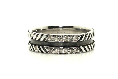 Rope Pave Band Ring With Diamonds(7mm)