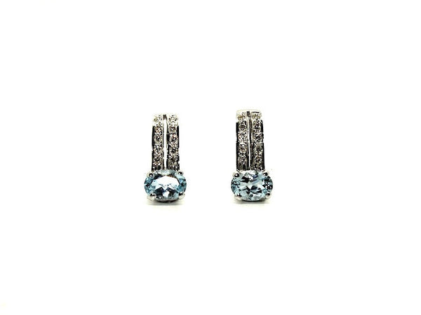 Aquamarine And Diamond Double Bar Earring Ad No.0216