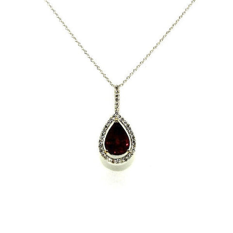 Garnet Pear Shape And Diamond Halo Pendant Ad No.1150
