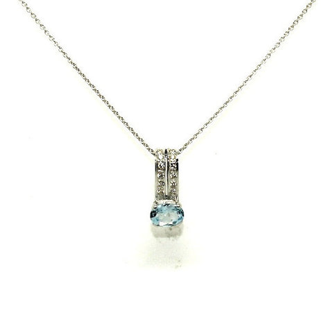 Aquamarine And Diamond Double Bar Pendant Ad No.0589