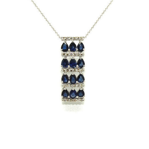 Blue Sapphire And Diamond 3row Parallel Pendant Ad No.0979