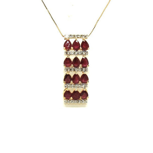 Ruby And Diamond 3row Parallel Pendant Ad No.0978