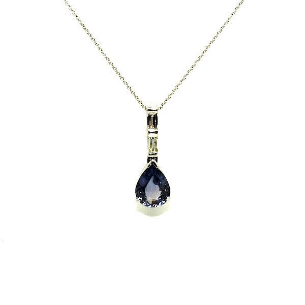 Fancy Sapphire And Baquette Diamond Pear Shape Pendant Ad No.0559