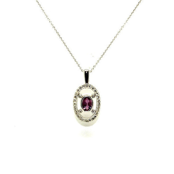 Pink Sapphire And Diamond Space Halo Pendant Ad No.0530