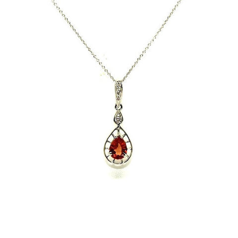 Orange Sapphire And Diamond Wire Drop Pendant Ad No.0531