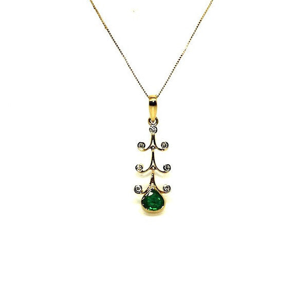 Emerald And Diamond X-mas Tree Pendant Ad No.0753
