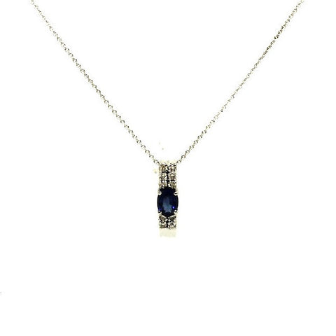 Blue Sapphire And Diamond Double Row Pendant Ad No.0568