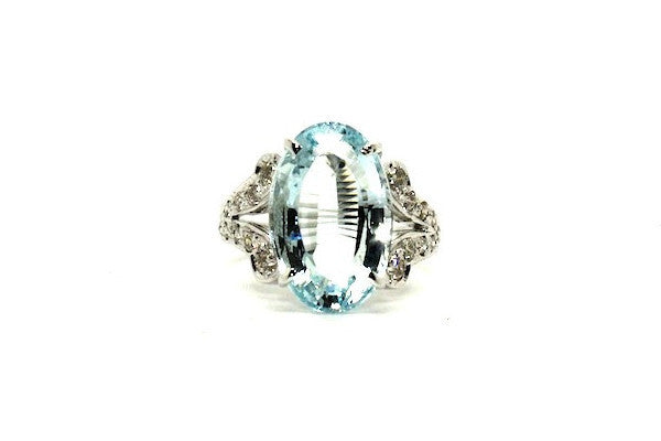 Aquamarine And Diamond Split-cart Ring Ad No.0419