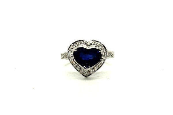 Blue Sapphire & Diamond Pave Cluster Heart Ring Ad No. 0669