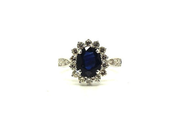 Blue Sapphire And Diamond Halo Ring Ad No.0477