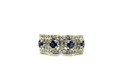 Blue Sapphire & Diamond Band Ring Ad No.0288
