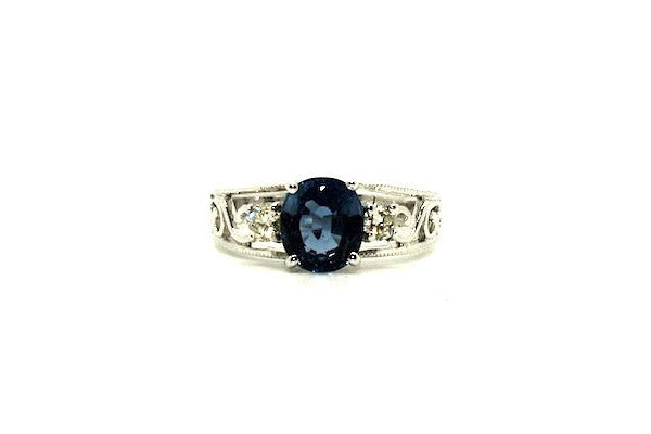 Blue Sapphire & Diamond Filigree Ring Ad No.0664