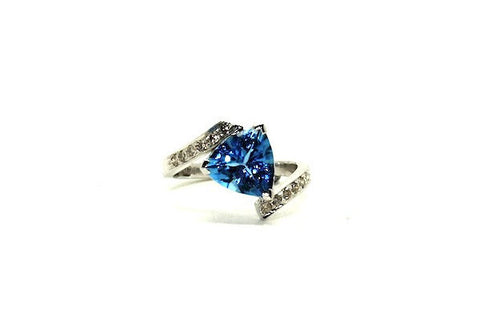 Trillion Blue Topaz & Diamond Ring Ad No. 0854