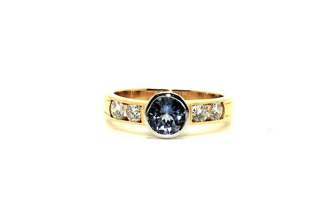 Tanzanite & Diamond Bezel Ring Ad No.0344