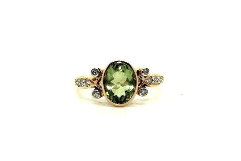 Peridot & Diamond Bezel Set Ring Ad No.0320