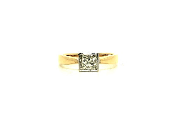 Bezel Set Princess Cut Diamond Ring Ad No.0803