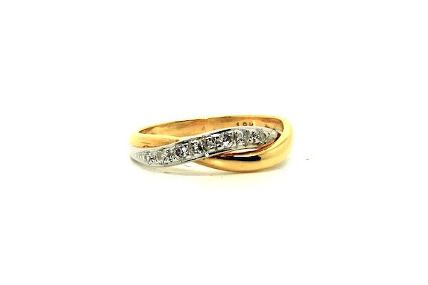 Diamond White & Yellow Gold  Overlap Ring Ad No.1051